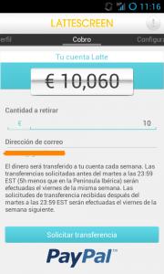Comprobante de pago de Lattescreen – Nueva página fiable para ganar dinero con el móvil.