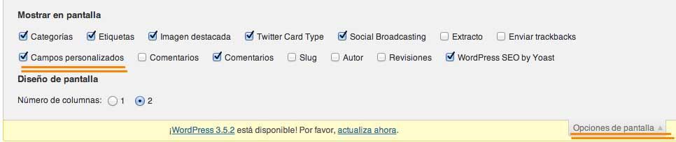 activar campos personalizados wordpress